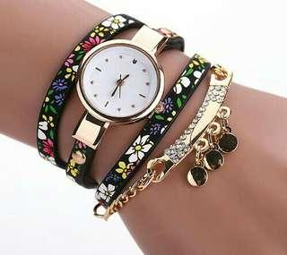 Stainless Steel Floral Women Watch