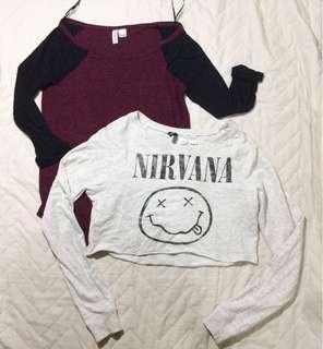 H&M Nirvana crop top and Maroon Top Bundle