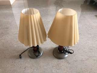 2 Italian made designer Table lambs with glass shade
