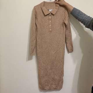 🚚 (全新)韓版長款過膝開叉毛衣裙 翻領針織連衣裙