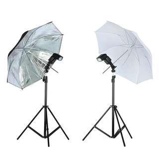{Promo}Photo Studio Lighting Kit Tripod Light Stand +  Flash Bracket Holder + Soft Black silver reflective white umbrella