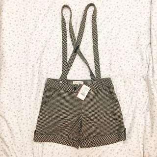 原價2780全新百貨專櫃cotton Inn 可愛格紋格子吊帶短褲