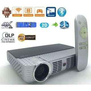 Chinese New Year Offer New 5W,DLP smart 3D Projector,WIFI Android 4.44,1800 lumens,1280x800pixels with free shutter 3D glasses,easy 2D to 3D KODI installed and ready to watch free movies & tv drama