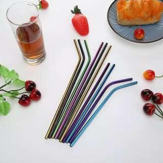 2PCS STRAW STAINSTELL WARNA + 1 BRUSH
