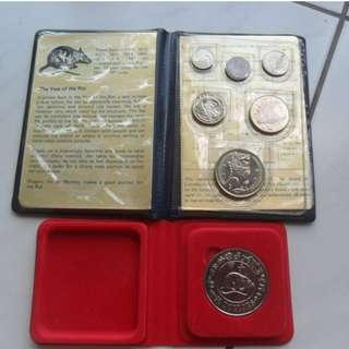 1984 Singapore Lunar Year of the Rat Unc Coin Set & Unc $10 Coin
