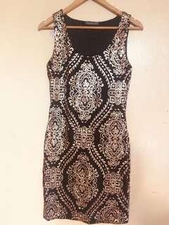 Suzy Shier Black Gold sequence dress