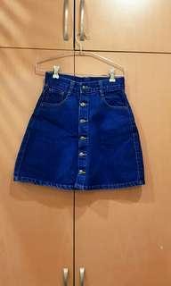 Buttoned Down Denim A Line Skirt