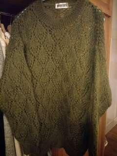 古董墨綠毛海毛衣