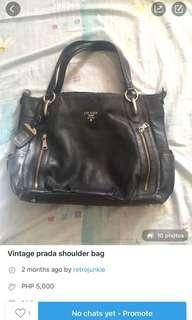 VINTAGE BLACK PRADA SHOULDER BAG