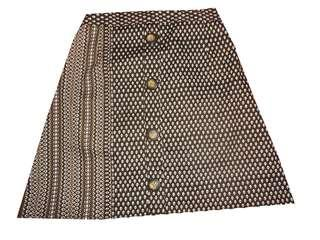 Brown Button Front Skirt