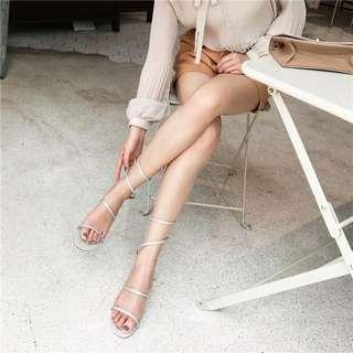 silver shoes 水鑽涼鞋