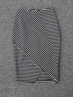 Ally - striped black and white bodycon skirt - AU 6