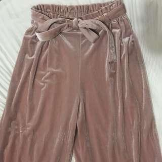 🚚 粉色絲絨寬褲