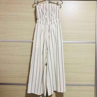 TEMT Black and White Striped Tube Jumpsuit