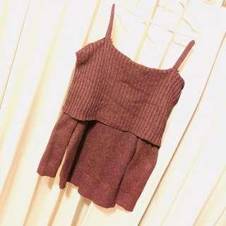 🚚 平肩吊帶暗紅混色針織毛衣