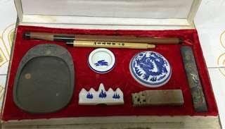 Antique Chinese calligraphy set