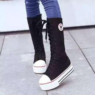 🚚 內增高5cm高筒帆布鞋靴子《37》號
