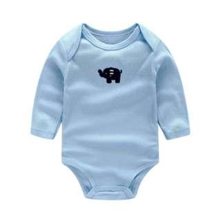 🚚 Little Elephant Embroidery Long Sleeve Light Blue Romper/ Bodysuits (NCR033)
