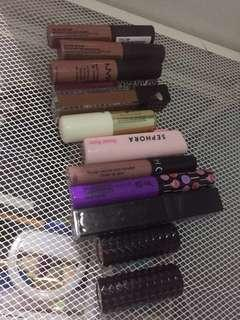 12 branded lipstick set (3 kat von d, 4 nyx, 2 sephora, sleek h&m and dida