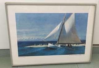 IKEA aluminium Photo Frame painting, yacht boat sea