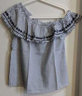 H&M One Sided Off Shoulder Blouse Top