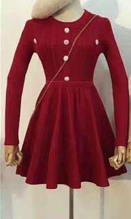 [新品轉賣]紅色氣質排釦收腰洋裝