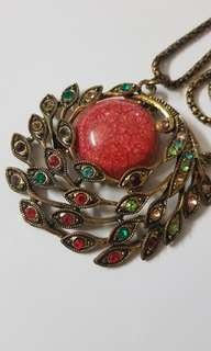 Pink Peacock Long Necklace