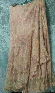 🚚 粉色蕾絲長裙 skirt pink