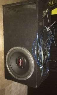 Car subwoofer with wires, amplifier