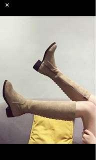 Khaki long boots 卡其色唔過膝後綁帶麂皮長boots