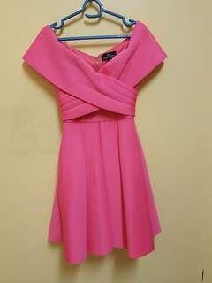 Off Shoulder Pink Dress doublewoot