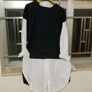 薄絨加恤衫料併料top (新)