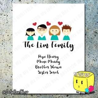 Cute Family Members Poster Print   40 x 50 cm #familyportrait #forfamily #prints