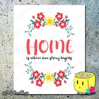 Home Is Where The Story Begins Poster Print   40 x 50 cm #familyquote #poster #homedeco