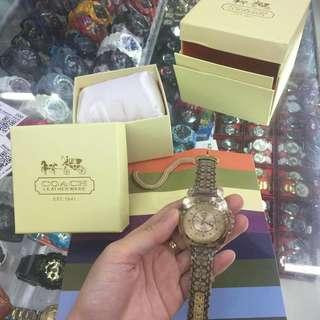 authentic coach leather strap watch