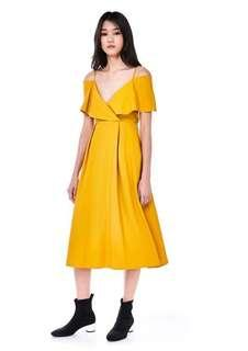 🚚 Editors Market yellow Charlize Cross Front Midi Dress