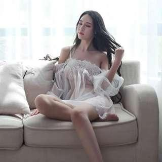 🚚 *Ready SG Stock* Pretty lacey white off-shoulders bare-shoulders soft chiffon lingerie set nightwear