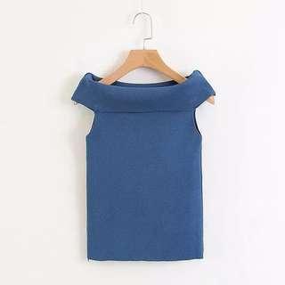 Blue sabrina offshoulder knitwear knit rajut top atasan tops blouse