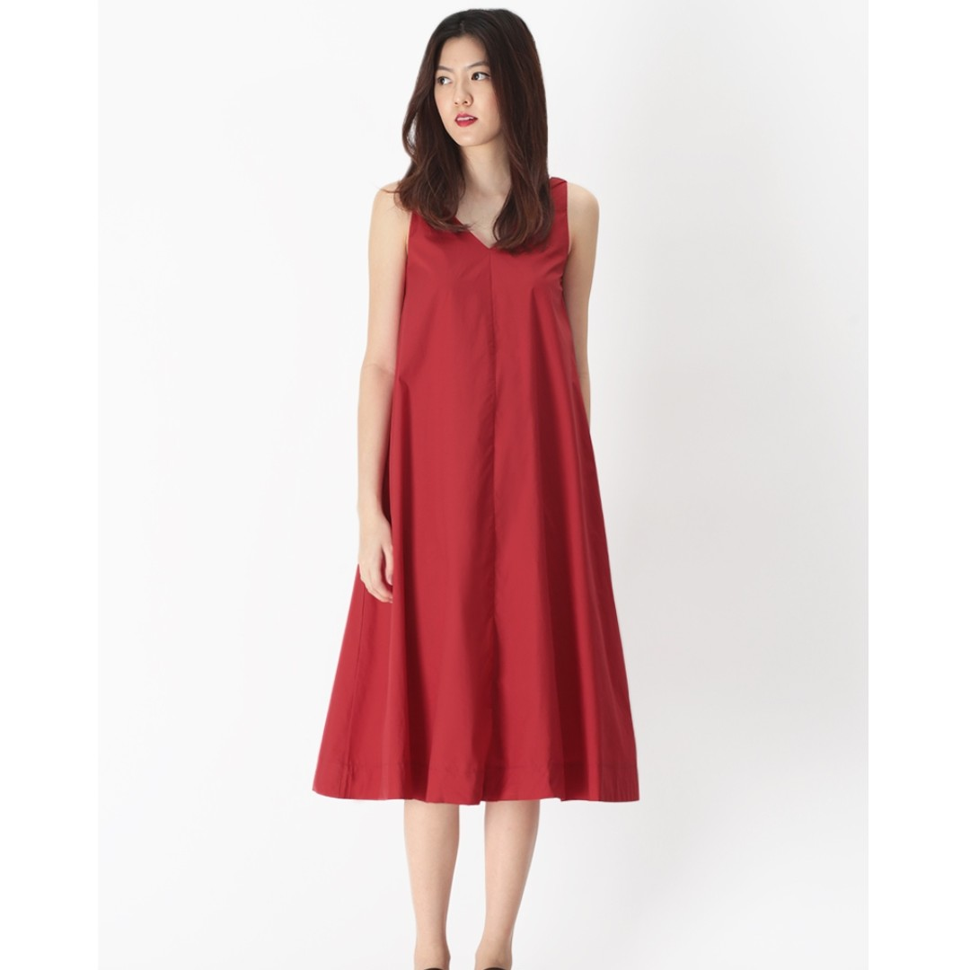 f7276c86929 A for Arcade AFA WILLOW V-NECK FLARE DRESS IN AURORA RED XS