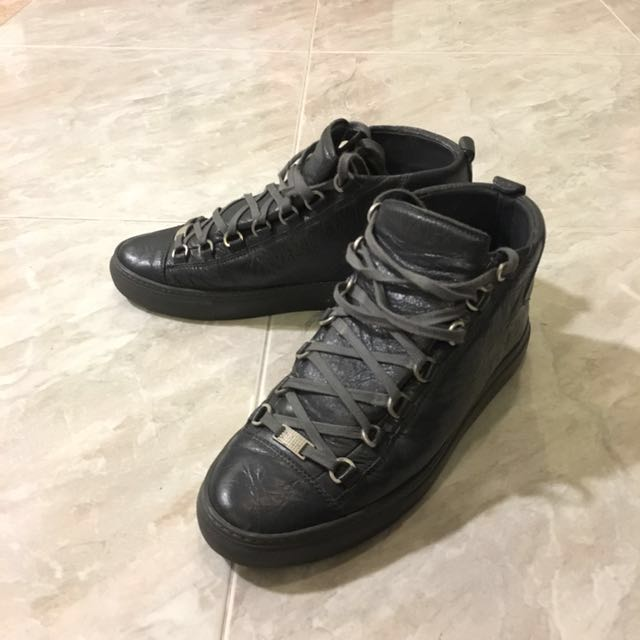 best authentic c62b9 dc595 Balenciaga arena high oil grey Lambskin leather , Men s Fashion, Footwear  on Carousell