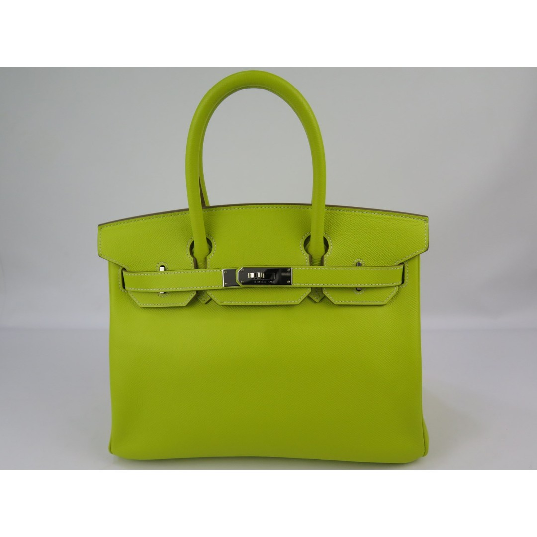 a77f61c2c635 Birkin30 Candy Lime Gris Perle PHW Stamp□O