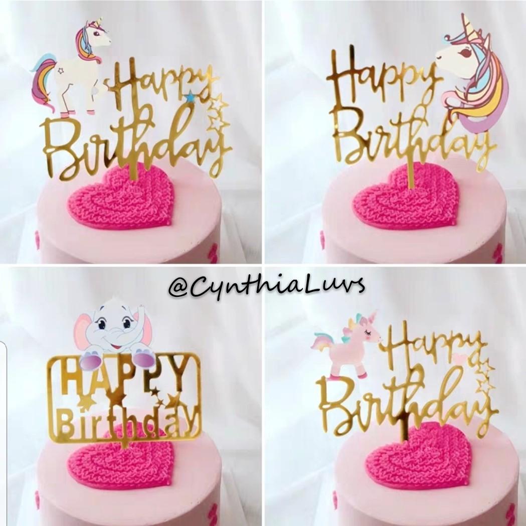 BN Acrylic Unicorn Flamingo Mermaid Cake Toppers Design Craft