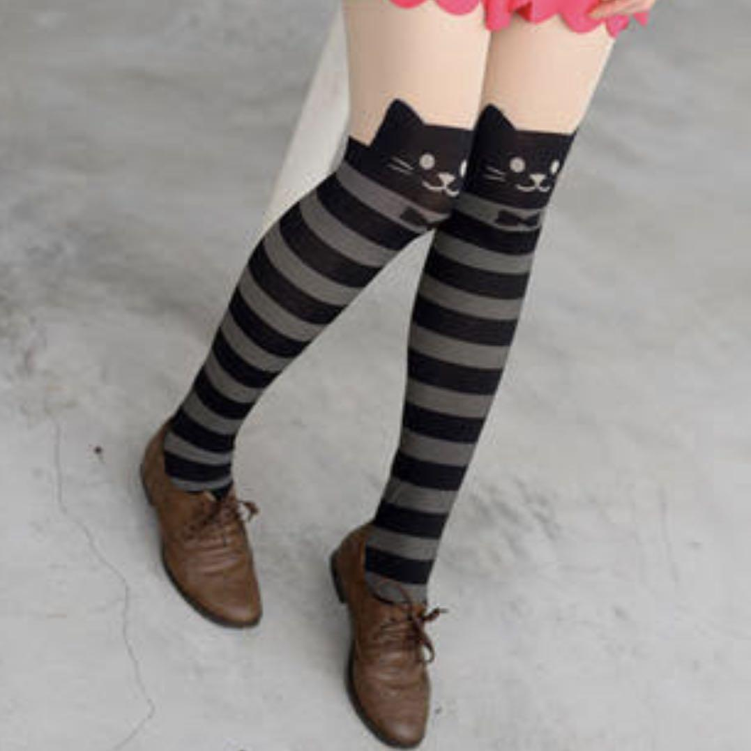 Cat kawaii striped tights faux tattoo leggings stockings pantyhose harajuku asian Korean fashion