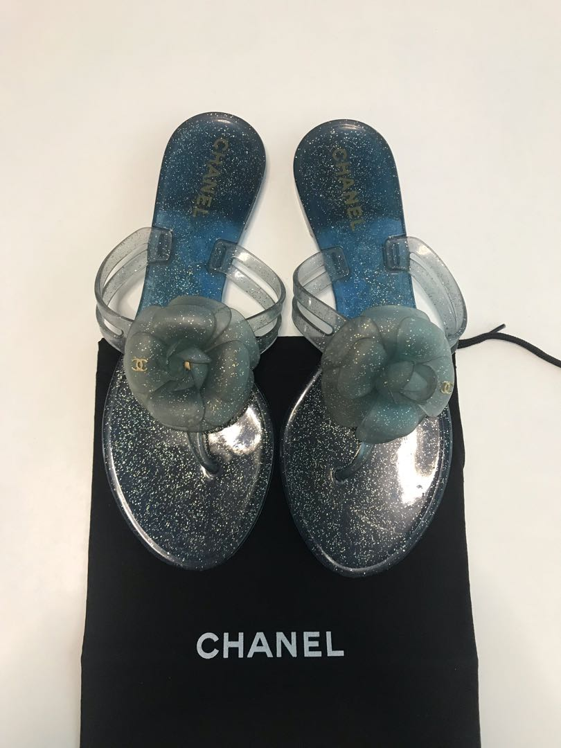 950ea6c7725a Chanel Blue Jelly Camellia Thong Sandals