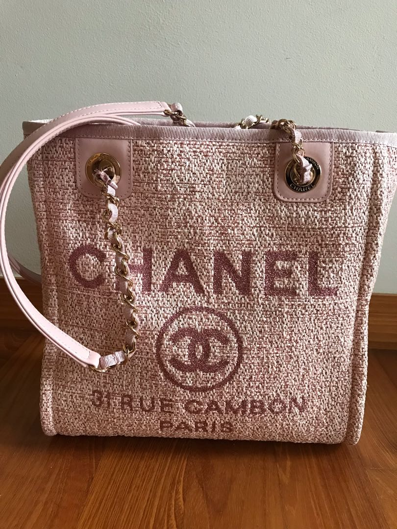9256cf23c2a8 Chanel Deauville Tote in pink, Luxury, Bags & Wallets, Handbags on ...