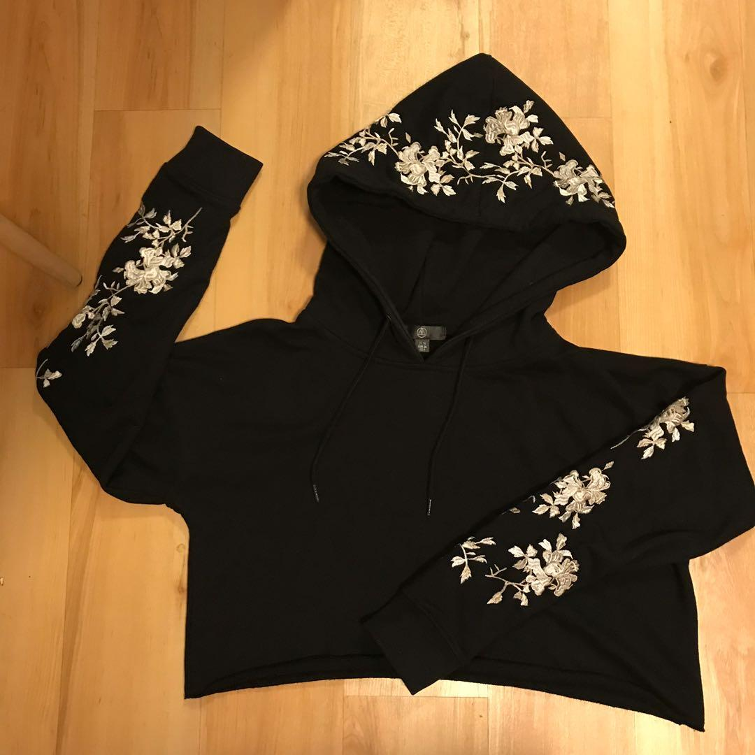 Cropped Embroidered Floral Hoodie