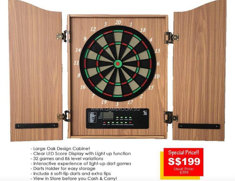 Electronic Dartboard With Cabinet 6 Darts Included Sports