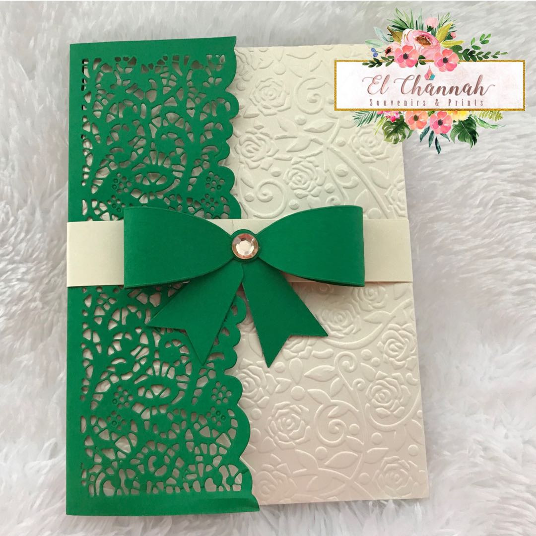 Emerald Green And Cream Invitation Cover On Carousell