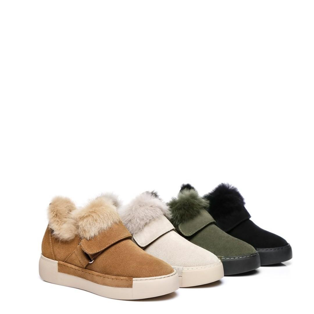 Everugg Hedda,Ladies buckle flats,Cow Suede Upper,Sheepskin Lining,Rubber sole