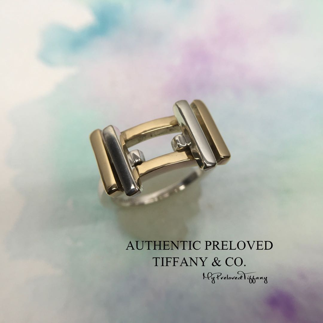 25908be9aa15e Excellent Retired Authentic Tiffany & Co. Gehry Axis Silver Gold 18k Ring 5